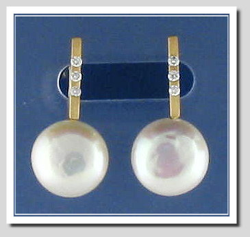 10.5MM Coin Pearl Diamond Earrings 18K Y Gold