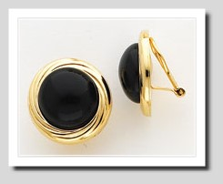 13MM Black Onyx Non Pierced Button Earrings 14K Gold Clip On