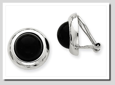 10MM Black Onyx Non Pierced Button Earrings 14K White Gold Clip On