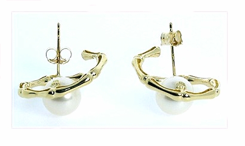 7.5MM White Freshwater Pearl Bamboo Style Earrings 14K Gold