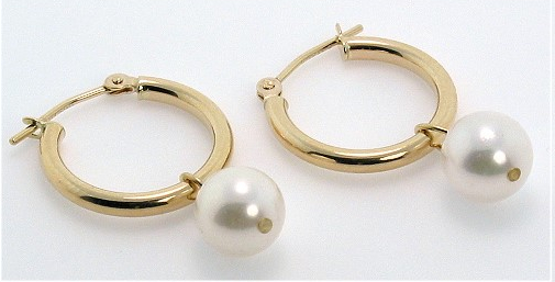 7-75MM White Akoya Pearl Hoop Earrings 14K Yellow Gold