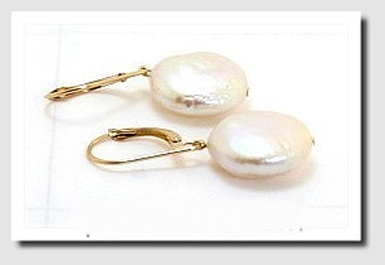 13-14MM White Coin Freshwater Pearl Dangle Earrings 14K Gold Leverbacks