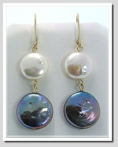 11-13MM White Black Coin Pearl Dangle Earrings 14K Yellow Gold Leverbacks