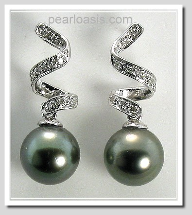 9.12MM Dark Gray Tahitian Pearl Diamond Earrings, 14K White Gold