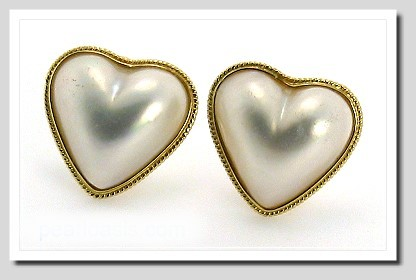 17X17MM Heart Shape Mabe Pearl Earrings 14K Yellow Gold Omega Clips