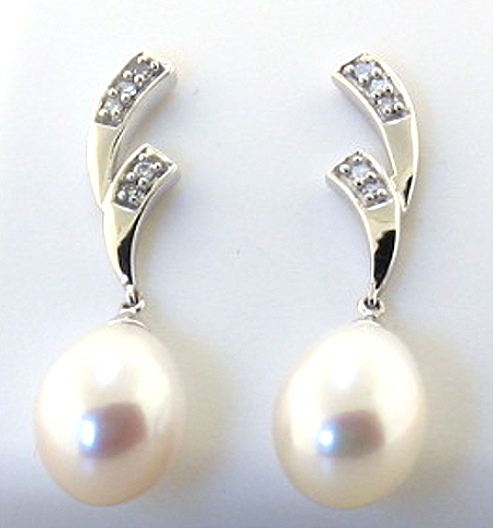 AAA 8X10MM FW Pearl & Diamond Earrings 14K White Gold