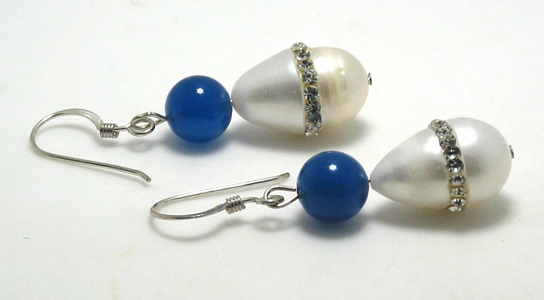 10X16MM Freshwater Crystal Pearl & Blue Bead Earrings, Silver French Wires