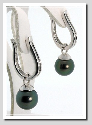9.44MM Peacock Tahitian Pearl Diamond Hinged Earrings 0.22CT 14K Gold