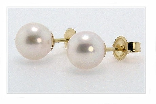 AA+ 7-7.5MM Akoya Pearl Earring Studs 14K Yellow Gold