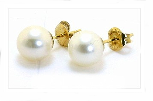AAA Grade 8-8.5MM White Freshwater Round Cultured Pearl Earring Studs 14K Yellow Gold