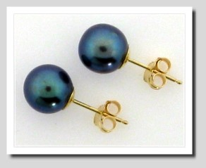 7.5-7.9MM Black Freshwater Pearl Earring Studs, 14K Yellow Gold