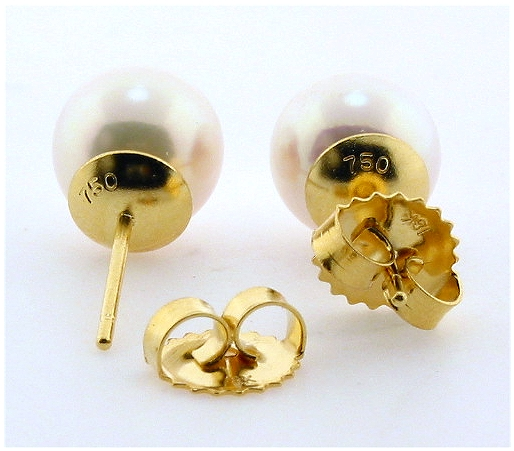 AAA Grade 8-8.5MM White Akoya Cultured Pearl Earring Studs, 18K Yellow Gold