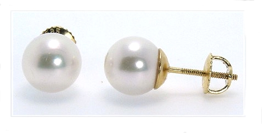 AAA Grade 8-8.5MM White Akoya Pearl Earring Studs 14K Yellow Gold Screw On