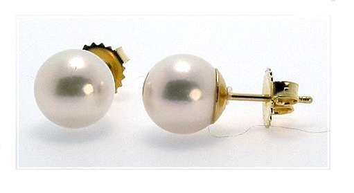 AAA 9-9.5MM Japanese Akoya Pearl Studs 18K Yellow Gold