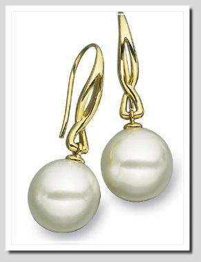 Paspaley 13MM White South Sea Pearl Dangle Earrings 14K Yellow Gold
