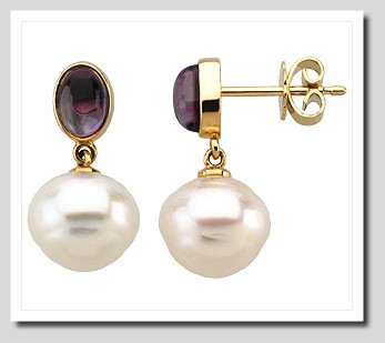 11MM South Sea Pearl w/ Amethyst Post Earrings 14K Gold