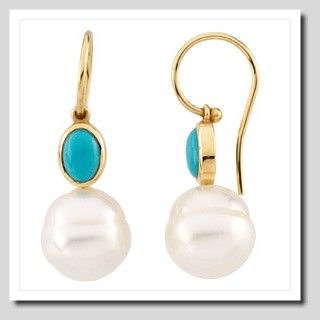 11MM South Sea Pearl with Turquoise French Wire Earrings 14K Gold