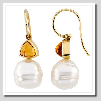 11MM South Sea Pearl w/ Citrine French Wire Earrings 14K Gold