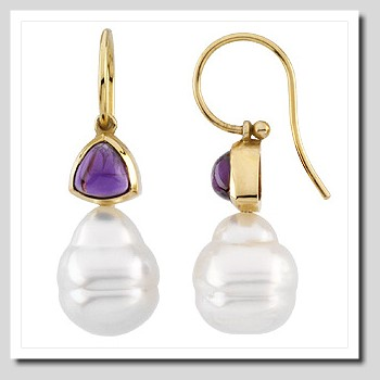 11MM South Sea Pearl w/ Amethyst French Wire Earrings 14K Gold