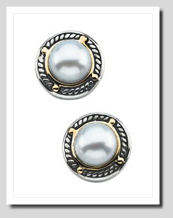 7MM Freshwter Cultured Pearl Earrings, Sterling  Silver/14K Gold