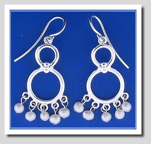 Double Circle Pearl Dangle Earrings. FW Cultured Pearls. 925 Silver
