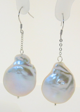20X27MM Huge Freshwater Baroque Pearl Dangle Earrings, Silver
