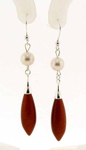 7-7.5MM White Akoya Pearl & Star Stone Dangle Earrings, Silver
