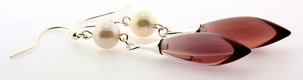 7-7.5MM White Akoya Pearl & Amethyst Quartz Dangle Earrings, Silver