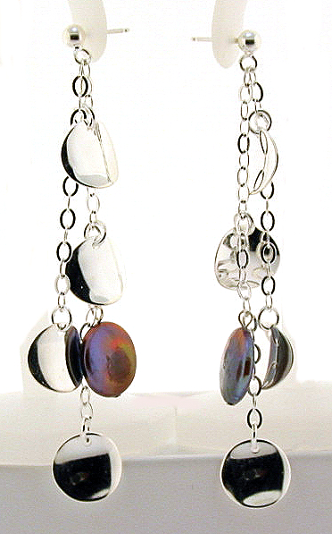 13MM Black Freshwater Coin Pearl & Disc Dangle Earrings, Silver