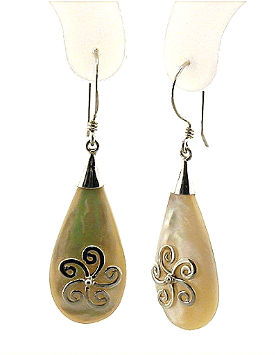 Designer Mother Of Pearl Dangle Drop Earrings, Silver, 1.6in Long