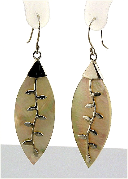 Designer Mother Of Pearl Dangle Earrings, Silver, 2.2in Long