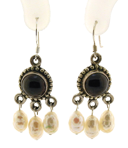 Garnet & Multi White Pearl Dangle Earrings, Sterling Silver, 1.7in Long