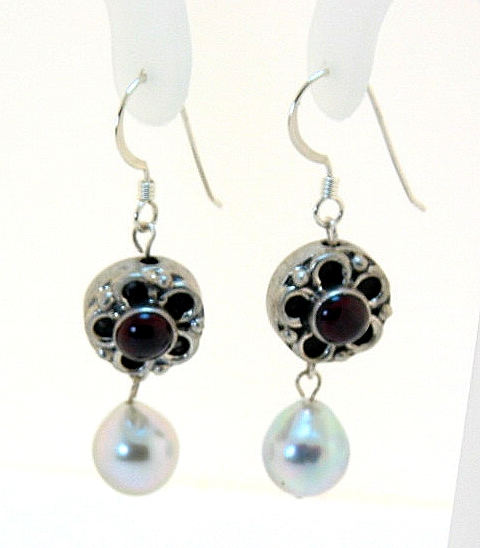 8X9MM Silver Gray Akoya Pearl & Garnet Stone Dangle Earrings, Silver, 1.6in Long