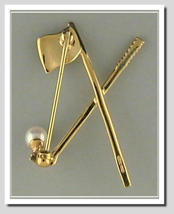 Golf Fun: Cultured Pearl Pin, 14K Yellow Gold
