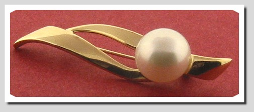 12-12.5MM White South Sea Pearl Pin Brooch, 14K Yellow Gold