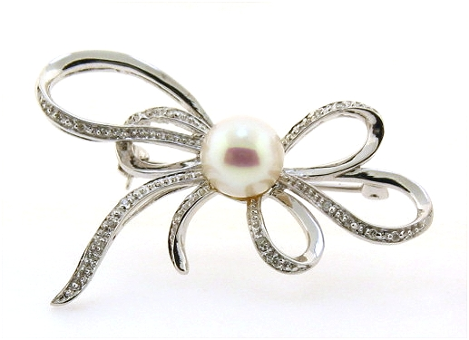 8MM Freshwater Pearl Diamond Bow Brooch 14K White Gold
