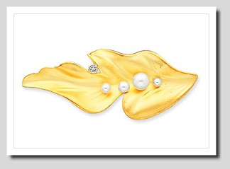 Large Leaf Pearl & CZ Brooch w/Freshwater Cultured Pearls, 14K Yellow Gold