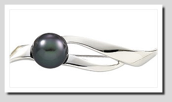 11-11.5MM Tahitian Pearl Brooch 14K White Gold