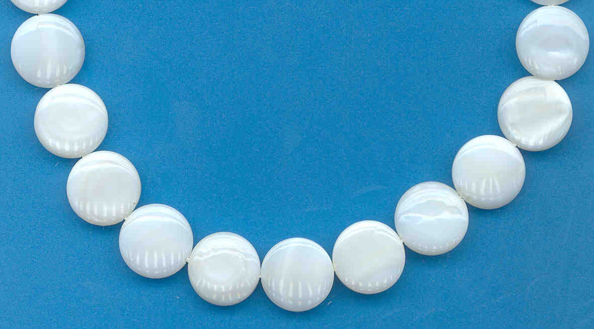 12-13MM White Mother Of Pearl Coin Shape