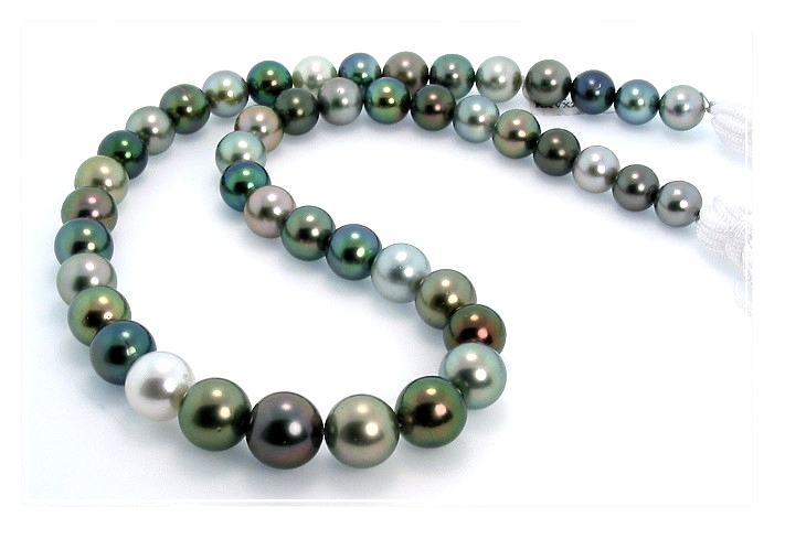 8-11MM Multi Color Tahitian Pearl Necklace 14K Diamond  Ball Clasp 18in