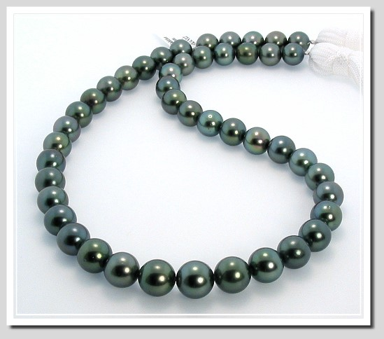 8-10MM Gray/Green Tahitian Pearl Necklace 14K Clasp 18in