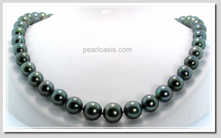 9-12.65MM Black/Green Tahitian Pearl Necklace 14K Clasp 18in