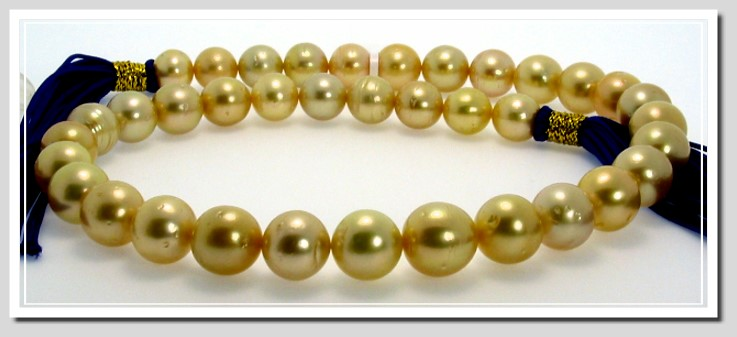 10 - 12.65MM Dark Golden South Sea Pearl Necklace 14K Diamond Clasp 18in.