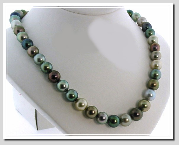 9.1-11.1MM Multi Color Tahitian Pearl Necklace 14K Gold Diamond Clasp 18in