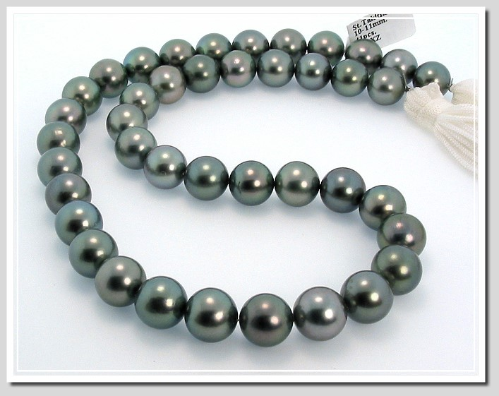 10-11MM Dark Gray/Green Round Tahitian Pearl Necklace 14K Diamond Clasp 18in.
