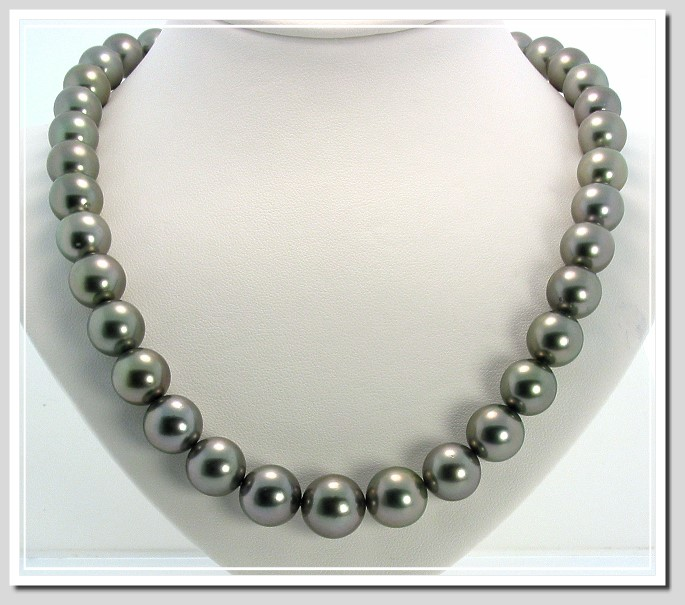10.5-13MM Dark Gray Round Tahitian Pearl Necklace 14K Diamond Clasp 18in.
