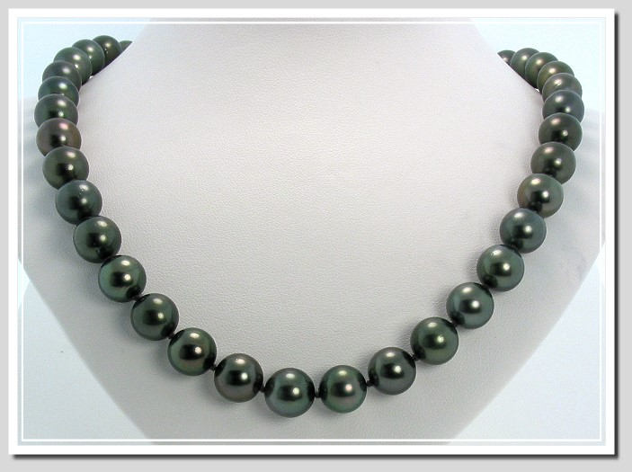 10-10.85MM Black Tahitian Pearl Necklace 14K White Gold 18in.