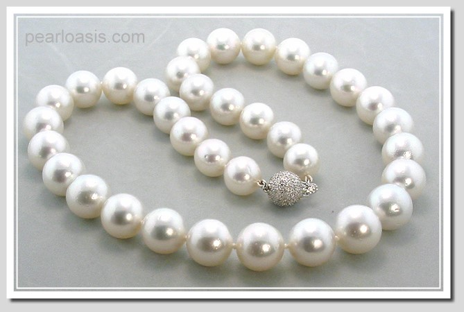 10.9-13.1MM White South Sea Pearl Necklace 14K Diamond Clasp 18in