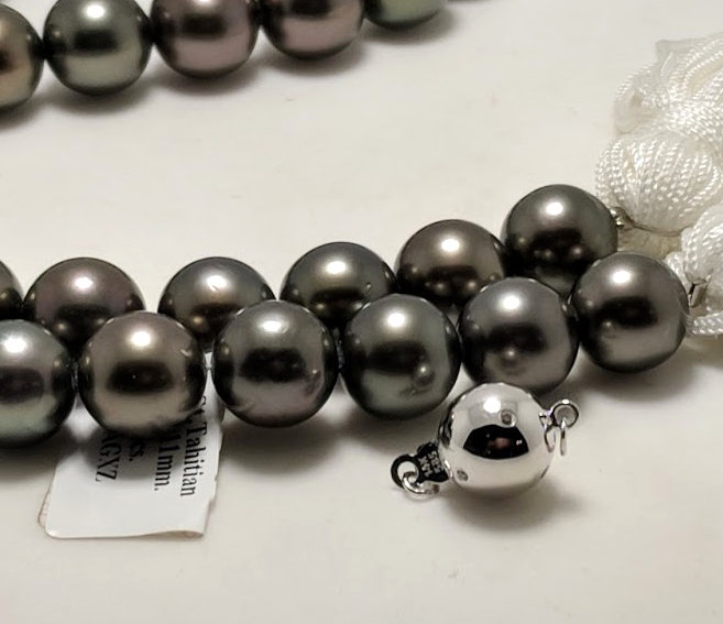10MM - 11MM Dark Gray/Red Tahitian Pearl Necklace 14K Diamond Clasp 18in