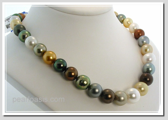 10-13.2MM Multi Color Tahitian & South Sea Pearl Necklace 14K Diamond Clasp 17in